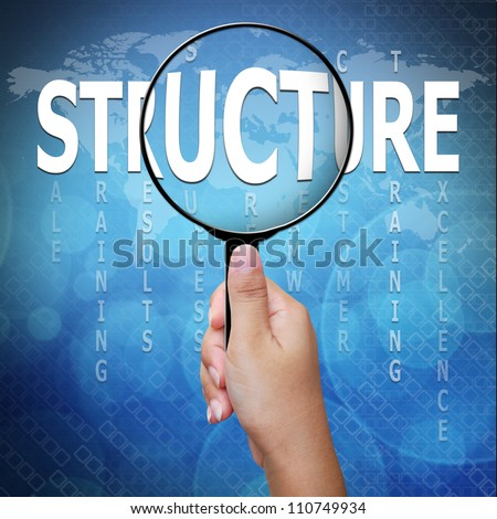 Structure, word in Magnifying glass ,Business concept