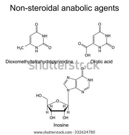 Structures of non-steroidal anabolic compounds, 2d illustration, raster