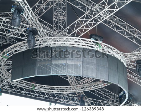 structures of stage illumination lights equipment and projectors - stock photo