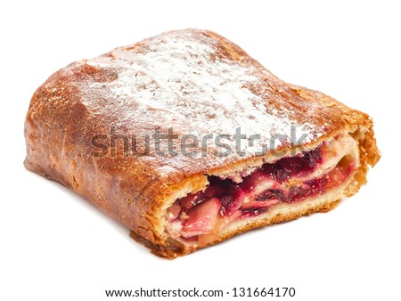 strudel apple and cowberry - stock photo