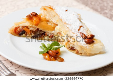 strudel with cottage cheese - stock photo