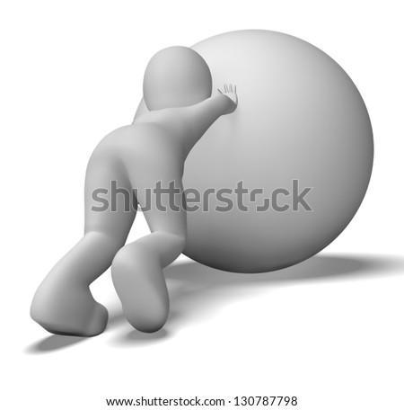 Struggling Uphill Man With Ball Showing Determination