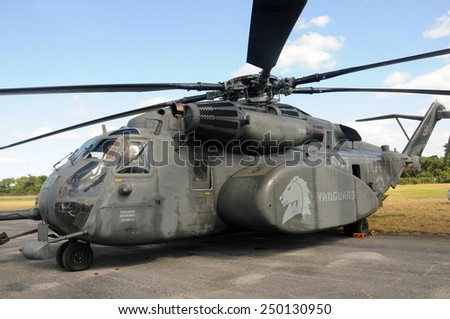 STUART, FL - NOVEMBER 12: US Navy MH-53 Sea Dragon helicopter stops over in Stuart, Florida on November 12, 2011. The heavy helicopter is seen as prone to accidents and cost 30 lives so far  - stock photo