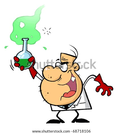 Stubbly Male Caucasian Mad Scientist Holding Up A Green Potion In A Flask - stock photo