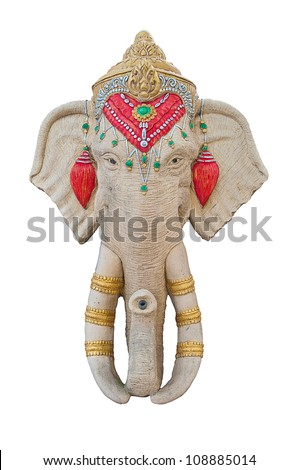 Stucco elephant head. - stock photo