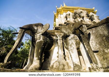 Stucco sculpture elephant pagoda Wat Chiang Man. Chiang Mai, Thailand - stock photo