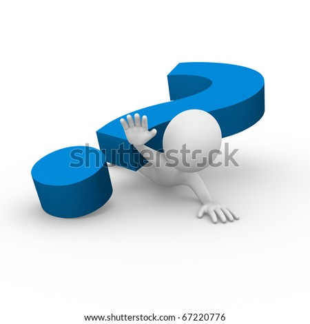 Stuck under a question mark - stock photo