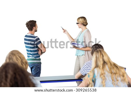 Student and teacher pointing at blackboard in class against white background with vignette - stock photo