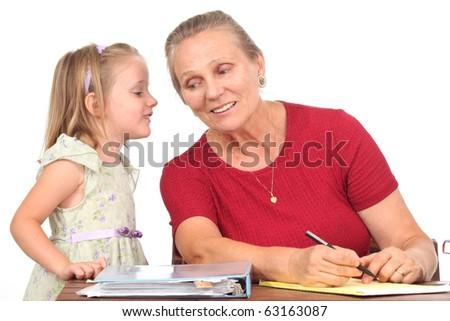 Student and teacher talking - stock photo