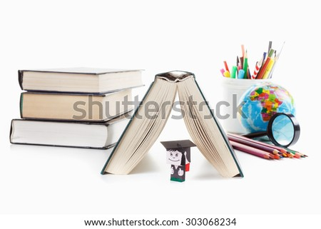 Student and the book as a house, globe, pencils. Concept of school. Isolated on white background - stock photo