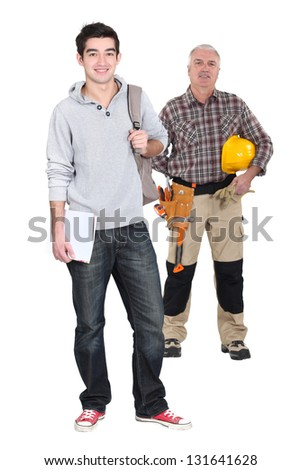 Student and woodworker - stock photo