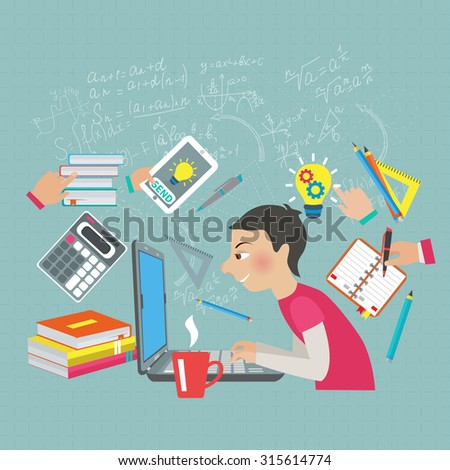 Student at notebook computer with mathematics symbols and formula on the background  illustration - stock photo