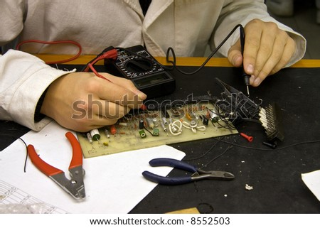 Student at the lesson in technical college