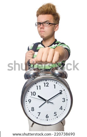 Student being late with his deadlines - stock photo
