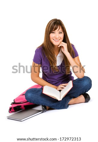Student: Cheerful Woman Reading Book