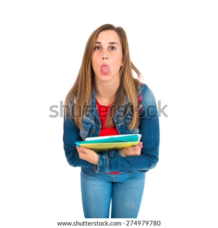 Student doing a joke over isolated white background - stock photo