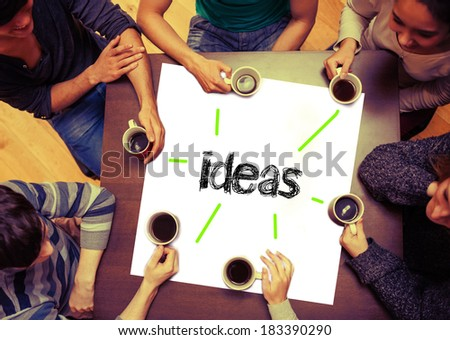 Student drinking coffee sitting around page saying the word ideas