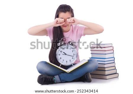 Student failing to meet deadlines for her studies - stock photo