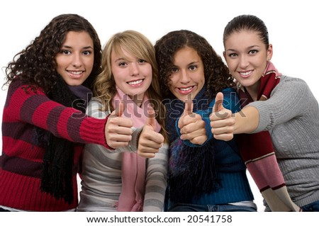 Student friends with thumbs up