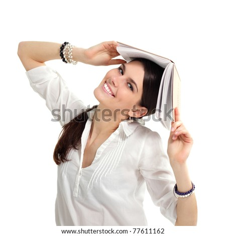 student girl cheerful with books isolated on white background