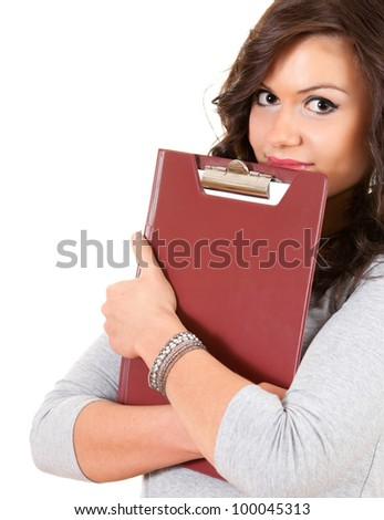 student girl covering face hidden for clipboard looking at camera, white background