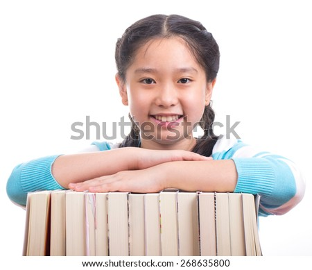 Student girl doing homework with white background  - stock photo