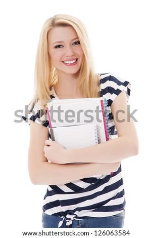 Student girl holding notebooks - stock photo