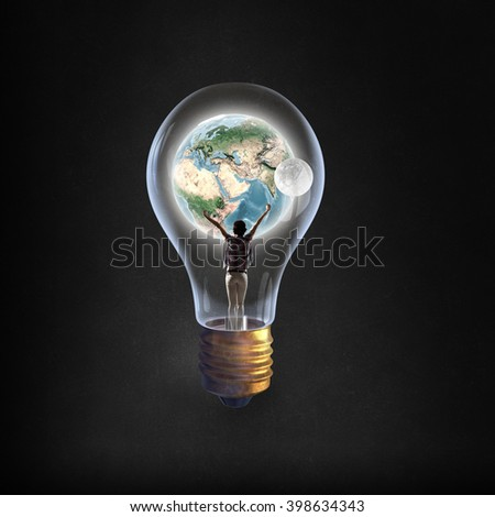 Student girl in glass bulb