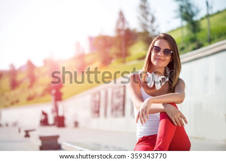 Student girl outdoors - stock photo