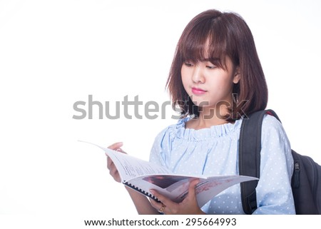 Student girl study with white background.