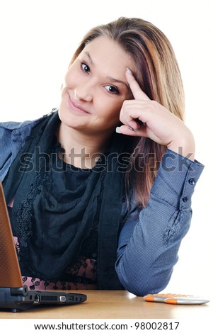 Student girl with a netbook
