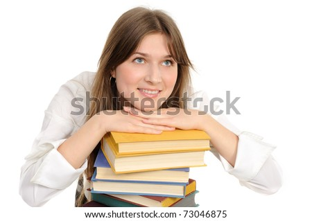 student girl with books on white background