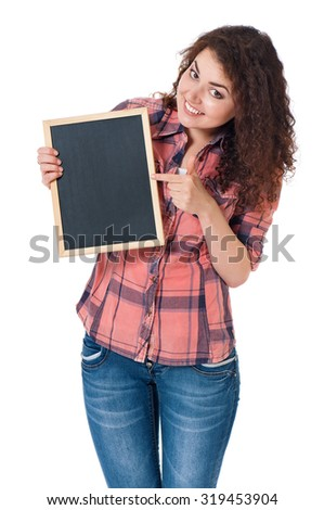 Student girl with chalkboard, isolated on white background - stock photo