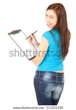 student girl with clipboard and pen, white background - stock photo