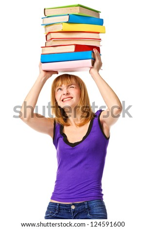 Student girl with pile color book. Isolated