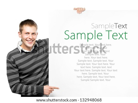 student holding white banner with sample text