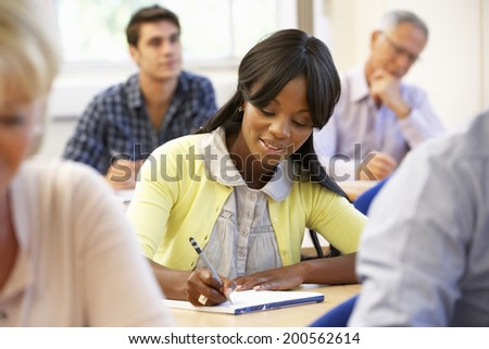 Student in class - stock photo