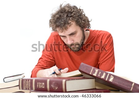 student in red t-shirt with books