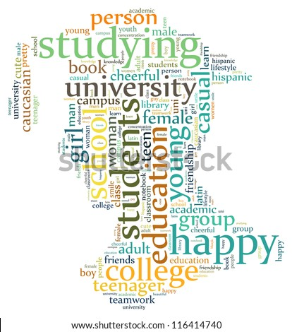 Student info-text graphics and arrangement concept (word cloud) - stock photo