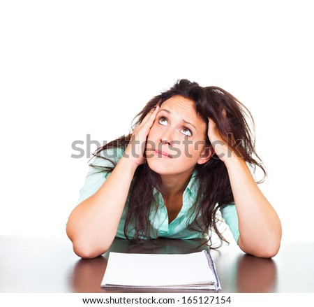 Student is worried about exams - stock photo