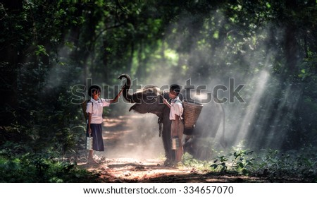 Student little asian boy and girl, countryside in Thailand - stock photo