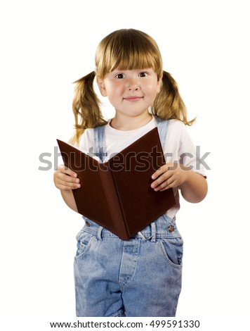 Student little girl reading book isolated over white