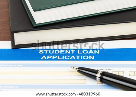 Student Loan Application Form Pen Text Stock Photo