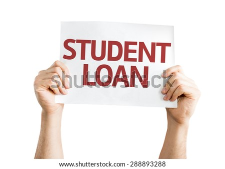 Student Loan card isolated on white - stock photo