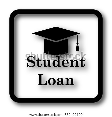 Student loan icon, black website button on white background.