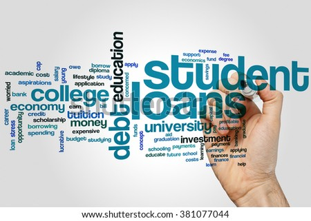 Student loans concept word cloud background - stock photo