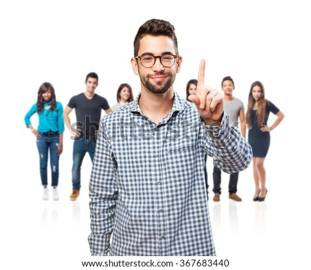 student man doing number one - stock photo