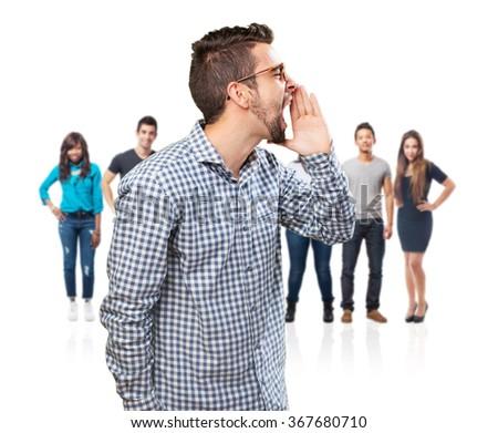 student man shouting - stock photo