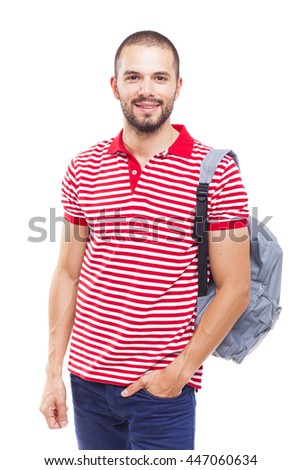 Student man standing with backpack, isolated on white background
