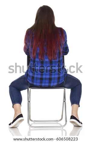 Student on chair back portrait